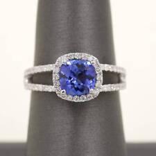 Tanzanite Cushion Cut Shaped,2 Row Diamond Band Engagement Ring.14K Gold Ring.