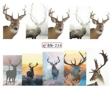 Nail Art Stickers Decals Transfers Christmas Xmas Wild North Reindeer (BN234)