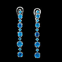 Round Paraiba Blue Apatite 5mm 14K White Gold Plate 925 Sterling Silver Earrings