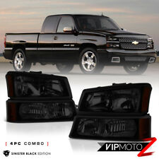 2003-2006 Chevy Silverado [SINISTER BLACK] 03-05 Avalanche Headlight Bumper Lamp