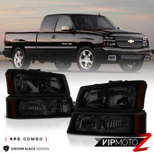 For 03-06 Chevy Silverado 03-05 Avalanche 4PC BLACK SMOKE Headlight Bumper Lamp