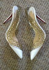 Rare $995 white Christian Louboutin Malaika d'orsay gold chain heels 37 4 new