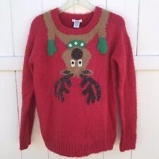 Kela Ugly Christmas Holiday Sweater Womens Sz M Medium Reindeer Red