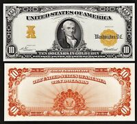 2 Proof Prints or Intaglio Impressions by BEP Back & Front of 1907 $10 Gold Cert