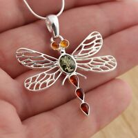 Multicolour Baltic Amber 925 Sterling Silver Dragonfly Pendant Jewellery