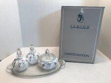 Fenton Limited Edition Milk Glass Flower Design Perfume Glasses + Powder Bowl
