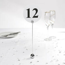 1 GORGEOUS CHROME ROUND BALL BASE WEDDING / PARTY TABLE NUMBER HOLDER