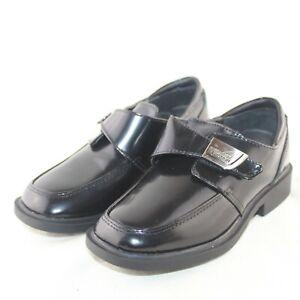 KENNETH COLE toddler boys hook & loop flat black leather dress shoes size 12 Med