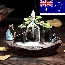 Ceramic Fish Smoke Backflow Tower Incense Burner Holder Censer Furnace Fragrant