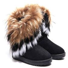 Damen Winter Boots Schlupfstiefel Stiefeletten Schneestiefel Kunstfell Bikerboot