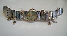 Silver/gold finish Love,Faith Hope/ dangling heart & cross charm bracelet watch