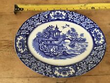 """PRELOVED WILLOW  FLOW BLUE PATTERN  MADE IN ENGLAND    13"""" PLATTER"""