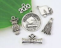 6 GRADUATION Theme Charms, Choose 2020 or 2021, Antique Silver Charm Collection