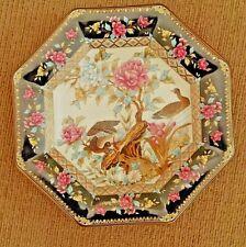 Decorative Octagonal Plate, Floral, Birds, Black, Pink Diameter 6inch