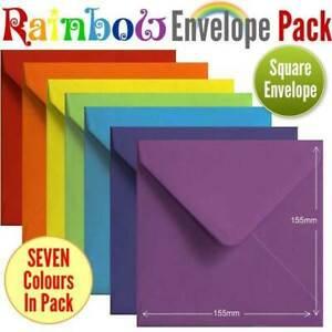 105 Colourful Rainbow Envelopes. Multi Coloured S4 Gummed Rainbow Coloured