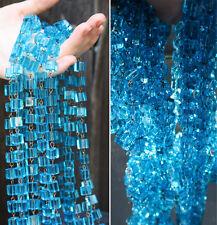 1FT glass beads prism chain strand part brass pin lamp macaroni aqua blue marine