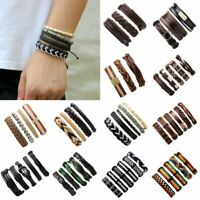 Hot Men's Vintage Punk Leather Wrap Braided Wristband Bracelet Bangle Set Gifts