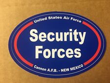 US AIR FORCE SECURITY FORCES CANNON NEW MEXICO Sticker - 4 3/4 Inch OVAL
