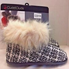 Cuddl Duds Slipper Boots Black White Check Faux Fur Lined Womens Size 5-6