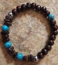 Peace Spirit Stainless Steel Turquoise Gemstone Wood Stretch Beaded Bracelet