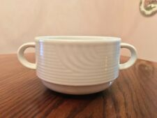 New BAUSCHER Germany Restaurant Ware White Embossed Lines Handled Soup Bowl