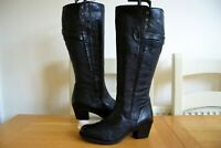 CLARKS MAYMIE STELLA ITALIAN BLACK LEATHER KNEE HIGH BOOTS UK 6E WIDE RRP £159