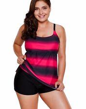 Women Tankini Swimsuit With Suring Shorts Swimwear Sporty Swimsuit L UK 10 Blue