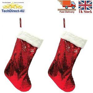 "2 x RED & Silver SEQUIN STOCKING 16"" Filler Hang Sock Christmas Santa Boot Sack"