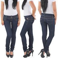 Damen Hüft Röhren Röhrenjeans Hüftjeans Hose Stretch Skinny Slim Fit Jeans Blau