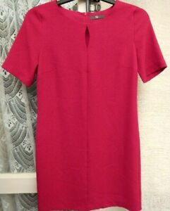 ( Ref 6288 ) BHS - Size 10 - Pink Short Sleeve Round Neck Knee Length Dress