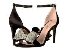 4afe45089756 Kate Spade New York Gweneth Heel Black Satin Crystal Bow Heeled Sandal Size  6.5