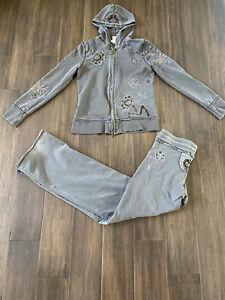 VERTIGO PARIS Gray Embellished Hooded Track Suit Size Small