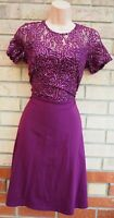 DOROTHY PERKINS PURPLE SEQUIN LACE SHORT SLEEVE PARTY A LINE SKATER DRESS 12 M
