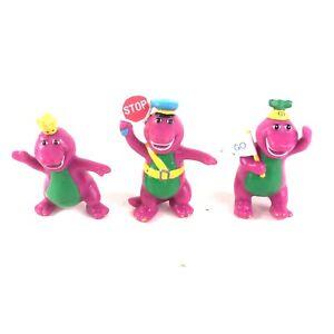 Lot of 3 Vintage BARNEY figures toys 1993 – Hard to Find – Cake Toppers - L@@K!