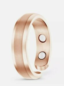 Smarter LifeStyle Titanium Ring Magnetic Therapy Rose Gold Size 7 (17.3mm) NEW