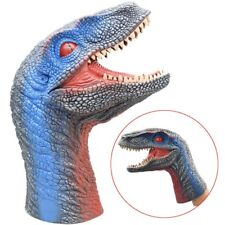 Simulated Soft Dinosaur Hand Puppet Dino Raptor Head Fun Toy Kids Gifts Blue