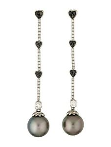 Pretty Grey Black Round 10 MM Pearls With Black & White CZ Heart Drop Earrings
