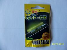 CLIP - ON LIGHT GLOW STICKS FLUORESCENT SIZE X LARGE 10 PACKS NIGHT FISHING