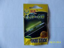 CLIP - ON LIGHT GLOW STICKS FLUORESCENT SIZE X LARGE 10 PACKS NIGHT FISHING