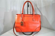 LRL Ralph Lauren Pebbled Orange Leather Tote Bucket Bag Crossbody Strap