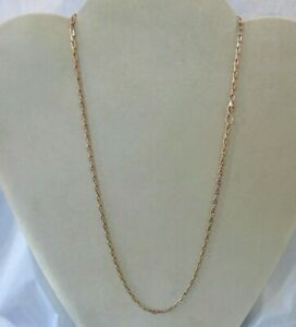 """Solid 18K  Rose Gold Chain Link Necklace   20"""" Long"""