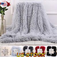 US Flannel Blanket Solid Warm ShaggyBlanket Throw Rug Sofa Bedding Baby Blanket
