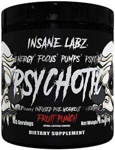 Insane Labz Psychotic Black Pre Workout Energy Focus Pump EU 220g 35 Servings