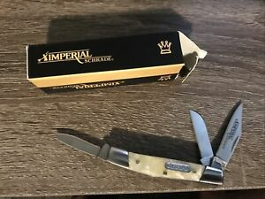Small Imperial Schrade IMP14 Three-Blade Pocket Knife w/Cracked Ice Handles