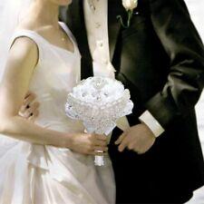 Wedding Flowers Bridal Tassel Diamond Brooches White Silk Rose Rhinestone Ribbon