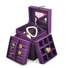 Suede Velvet Trinket Makeup Beauty Travel Vintage Box Case Purple HY