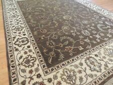 8x10 Tabrize Oriental Area Rug Brown Wool SILK Flowers Floral hand-knotted