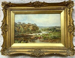 Henry Morley Park Oil Painting On Board Fownhope Herefordshire