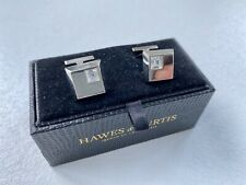 With Clear Crystals In Original Box Hawes And Curtis Square Silver Cufflinks