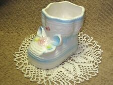Collect. Vtg. RUBENS Blue and White Ceramic BABY SHOE/Bootie Planter/Vase JAPAN
